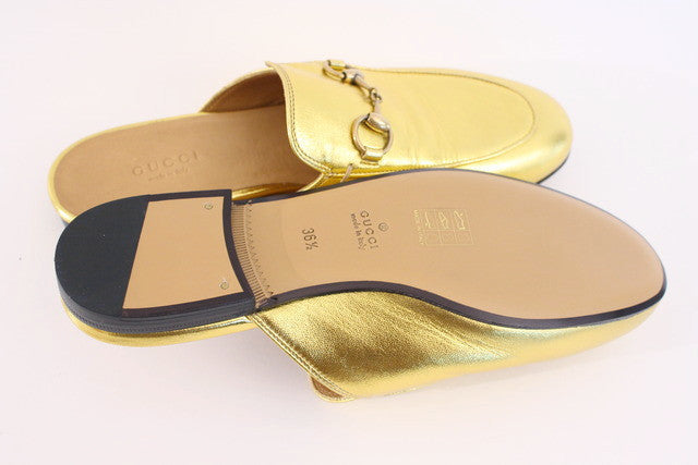 3e348999254 New GUCCI Gold Princetown Slipper Loafer at Rice and Beans Vintage