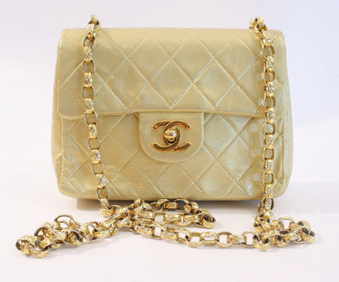 Rare Vintage CHANEL Gold Flap Bag