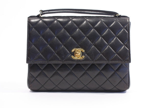 Vintage CHANEL Black Lambskin Convertible Clutch