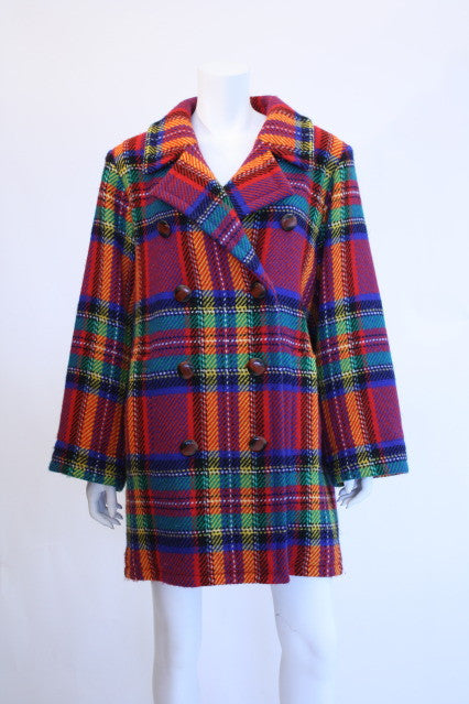 1980s YVES SAINT LAURENT Plaid Wool Coat