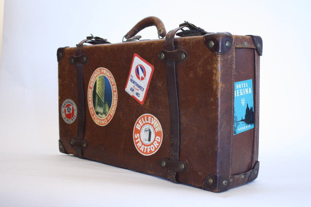 Vintage Leather Luggage w/Stickers