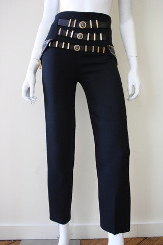 Iconic 1990s GIANNI VERSACE Wool and Leather Bondage Pants