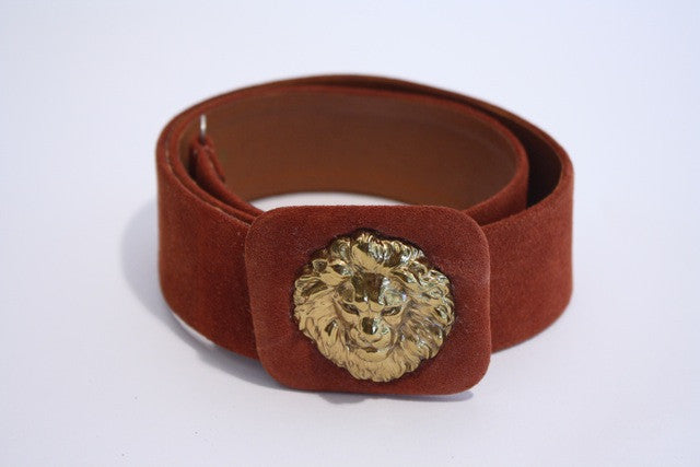 Vintage 70's ANNE KLEIN Gold Lion Head Belt