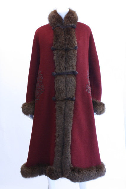 Vintage Russian Style Wool Coat w/Fox Fur