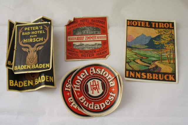Vintage Set of 8 Travel Luggage Stickers