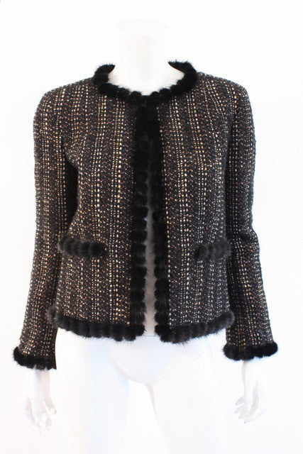 Vintage Chanel Tweed Jacket Mink Fur