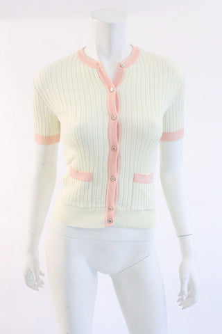 Vintage CHANEL Ribbed Cardigan Top