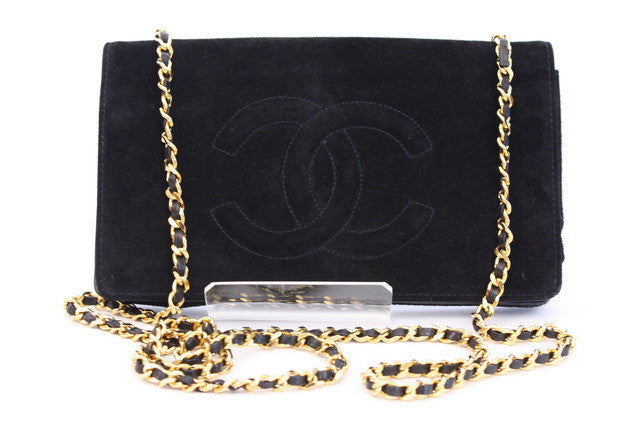 Vintage Chanel Suede Wallet On Chain (WOC)
