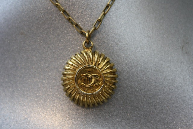Vintage 70's CHANEL Gold CC Starburst Pendant on Gold Chain