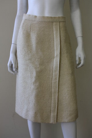 Vintage CHANEL White & Gold Metallic Boucle Faux Wrap Skirt