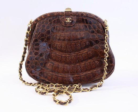 Vintage Chanel Crocodile Handbag Clutch
