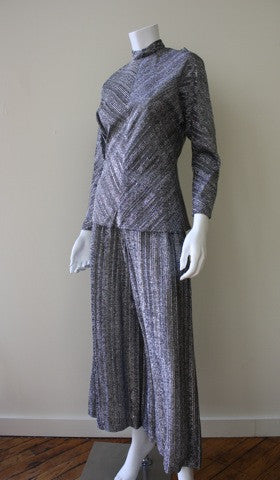 1960s Metallic Wide Leg Pants, Tunic, and Scarf