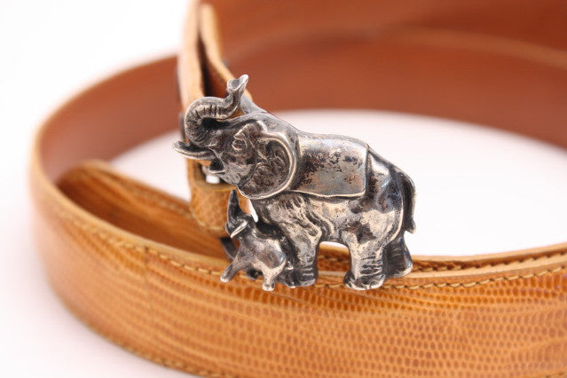 Lyn Gaylord Sterling Elephant & Lizard Belt