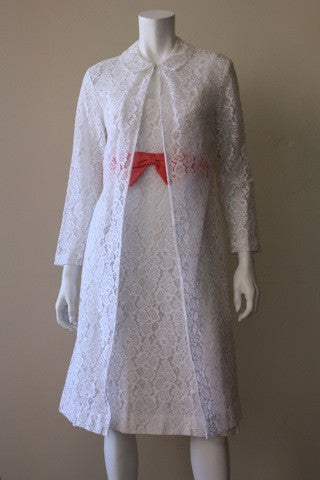 1960s White Lace Dress with Matching Jacket