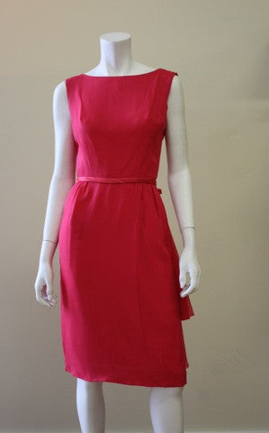 1960s Hot Pink Chiffon Party Dress