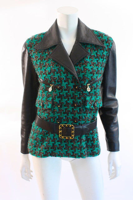 Vintage Chanel F/W 1992 Leather Boucle Jacket
