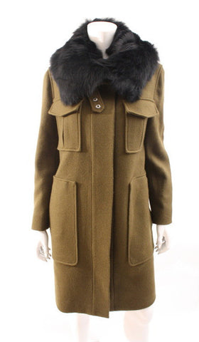 THEORY Coat w/Fur Collar