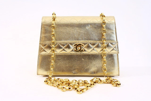 Vintage Chanel gold flap bag