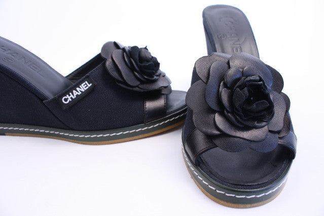 Chanel Camellia Flower Wedges