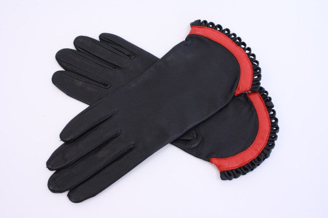 Vintage Black & Red Leather Gloves