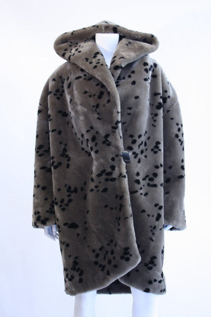 Vintage 80's Animal Print Faux Fur Coat