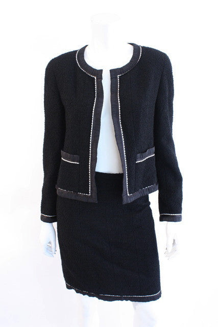 Vintage Chanel Black Skirt Suit Jacket
