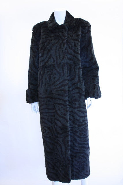 Vintage Zebra Print Rabbit Fur Coat