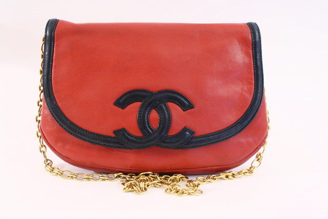 Vintage Chanel Red Flap Bag Clutch