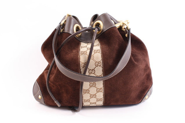 Gucci Monogram Drawstring Handbag