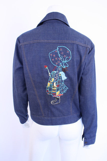 Vintage 70's Denim Jacket with Holly Hobbie
