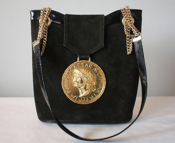 Vintage 70's ROSENFELD Dark Forest Green Suede & Black Patent Leather Bag with Huge Gold Caesar Medallion