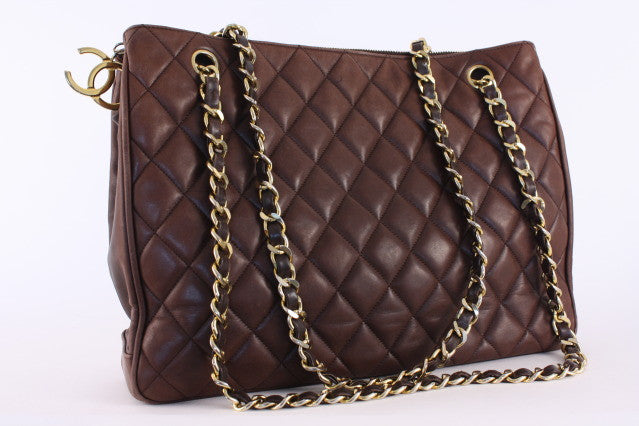 Vintage Chanel Brown Quilted Tote Bag