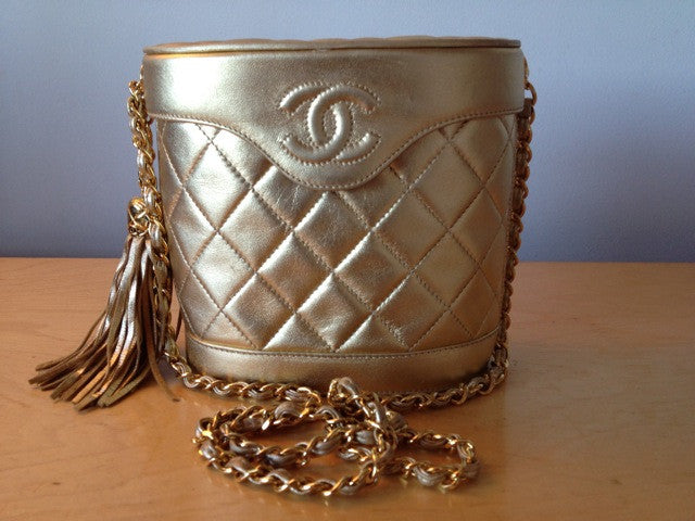 Vintage 1989-1991 Rare CHANEL Gold Metallic Quilted Lambskin Box Bucket Handbag with CC & Chain & Leather Shoulder Strap, Bag, & Box