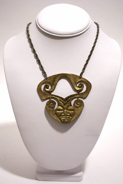 1970s Gold Mask Necklace