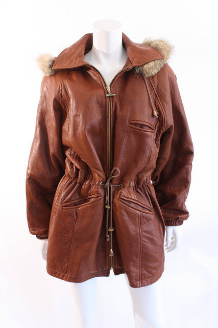 Vintage Leather Coat with Fur Trim