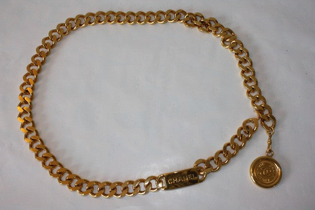 Vintage CHANEL Gold Plated Chain Link Belt or Necklace with CHANEL Nameplate & Circle CC Medallion