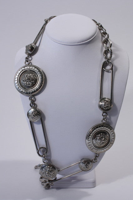 GIANNI VERSACE Safety Pin Belt Necklace