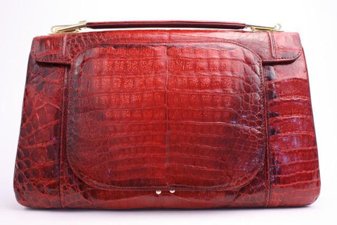 Vintage Red Caiman Crocodile Handbag