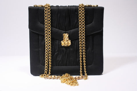 1960s Black Silk and Gold Handbag