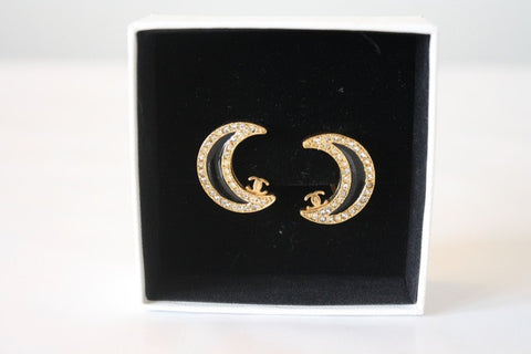 01P CHANEL Gold, Enamel, Rhinestone Moon Earring with Box