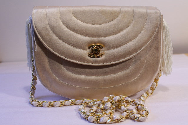 Vintage CHANEL Quilted Silk Handbag