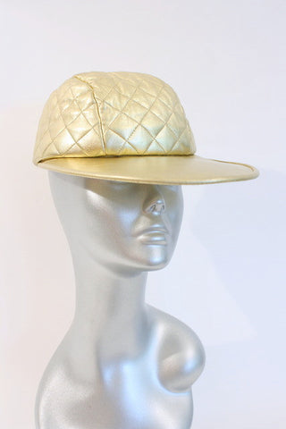 Rare Iconic Vintage CHANEL Gold Quilted Leather Hat