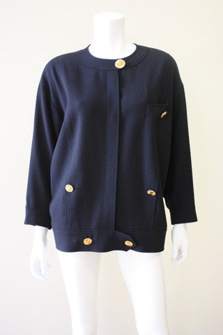 Vintage CHANEL Black Wool Crepe Jacket