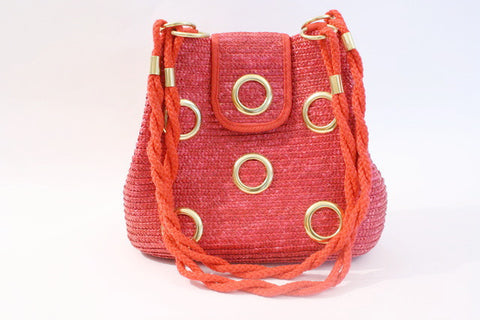 Vintage 80's Red Straw Handbag