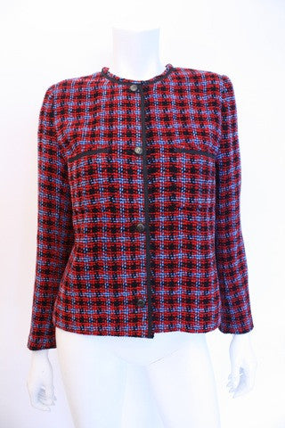 Vintage CHANEL Plaid Chenille Jacket