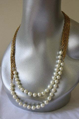 Vintage CHANEL '86-'89 Double Gold Chain Link & Pearl Necklace in Box Designed by VICTOIRE de CASTELLANE