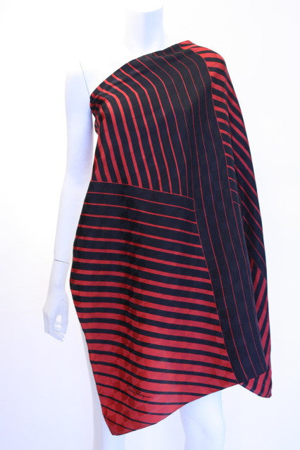 Vintage SALVATORE FERRAGAMO Striped Textured Silk Scarf