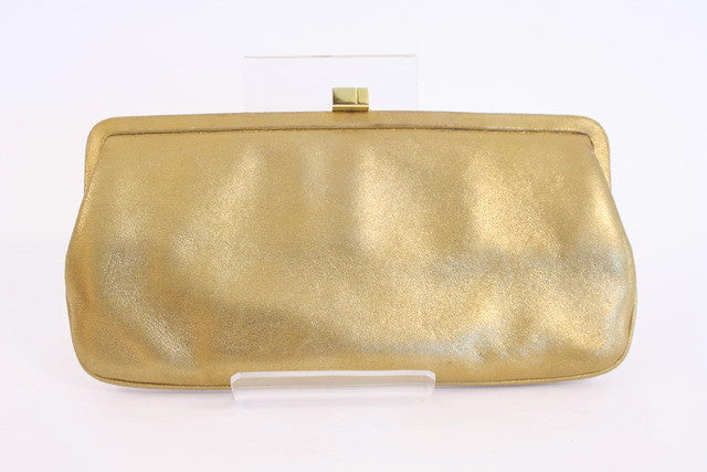 Lamberston Truex Gold Leather Clutch