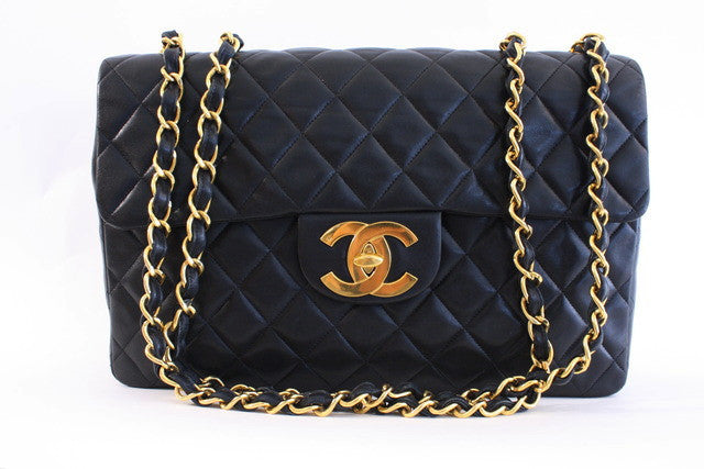 Vintage Chanel Black Maxi Jumbo Flap Bag