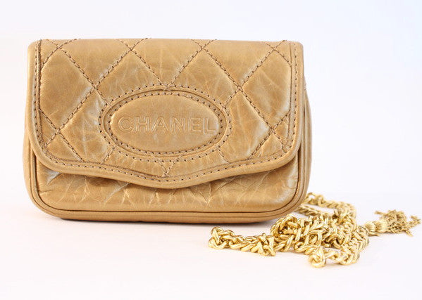 Vintage Chanel Gold Clutch Waist Bag